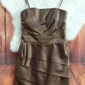 BCBG Paris Brown Satin Sexy Party Mini Dress 2